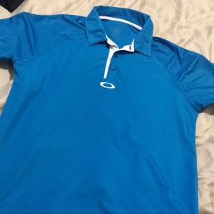 Bright blue Oakley polo with white detail